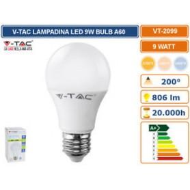 V-TAC VT-2099 LED BULB - 9W E27 A60 THERMOPLASTIC 2700K - SKU 7260