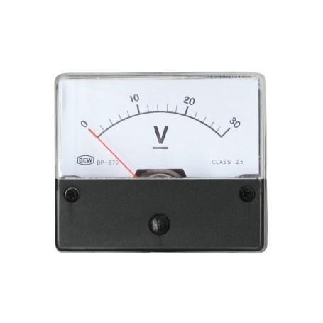 VOLMETRO DA PANNELLO  0-30 V-DC