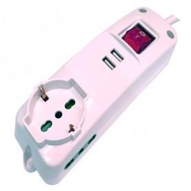 MULTIPRESA 2 PRESE BIPASSO + 1 BIPASSO-SCHUKO + 2 PORTE USB CAVO 3x1,5mm - 1.5mt