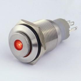 PULSANTE IN METALLO 16 MM. 3 CONTATTI, LED 12 V PUNTO LUMINOSO ROSSO IP 5