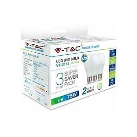 V-TAC VT-1900 Lampadina LED E27 9W A60 6400K (Box 3 pezzi)