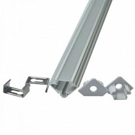 PROFILO IN ALLUMINIOANGOLARE PER STRIP LED LED (Max l: 11mm) COPERTURA SATINATA 2 PEZZI DA 2000 x 19 x 19mm