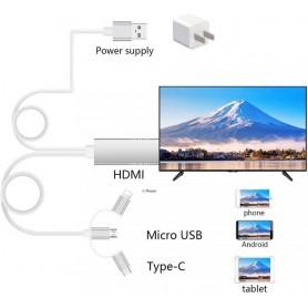 CAVO ADATTATORE HDMI A SMARTPHONE - 3 IN 1 MicroUSB Type-C E iPhone
