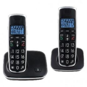 TELEFONO CORDLESS DOPPIO NERO-ARGENTO