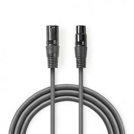 CAVO AUDIO BILANCIATO XLR a 3 pin maschio-XLR 3 pin femmina  PLACCATO NICKEL  0.50 mt Tondo | PVC