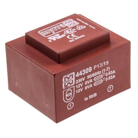 12VX2-667mA TRASFORMATORE C.S. EI54 16VA 230V - 47,5X56,5mm