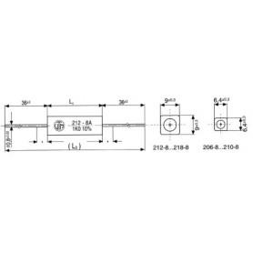 8,2R-5,0W RESISTENZA FILO ASSIALE 25X6,4mm