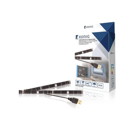 2 STRISCE LED PER TV USB DI 50cm A COLORI RGB CON TELECOMANDO ILLUMINAZIONE REGOLABILE
