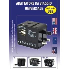 ADATTATORE DA VIAGGIO UNIVERSALE AUTOMATICO + 2USB 2,1Ah + 1Ah