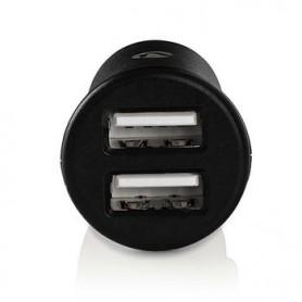 CARICA BATTERIE AUTO 2.4 A  2 uscite  USB-A  Nero