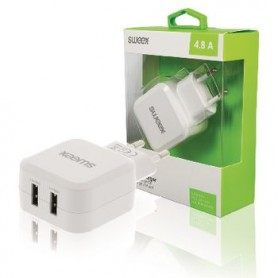 CARICABATTERIE A SPINA 2-Outputs 4.8 A 2 x USB Bianco