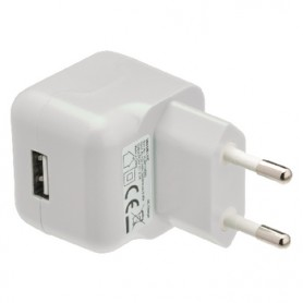 CARICABATTERIE AC USB - USB A FEMMINA 2,1A BIANCO