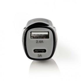 CARICABATTERIE DA AUTO 2-Outputs 3.4 A USB - USB-C™ Nero