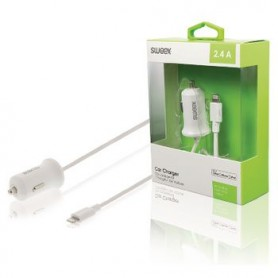 CARICABATTERIE PER AUTO 2.4 A Apple Lightning Bianco