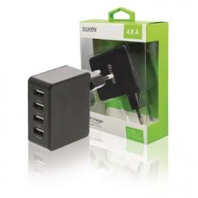 CARICATORE A MURO 4-Outputs 4,8 A USB Nero
