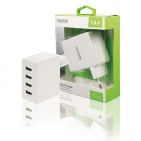 CARICATORE A MURO 4-Outputs 4.8 A USB Bianco