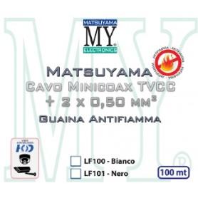 CAVO MINICOAX TVCC CON CONDUTTORI ALIMENTAZIONE 2x0,5mm - roll box 100 mt nero