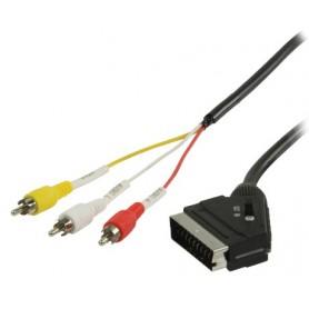 CAVO SCART - RCA COMMUTABILE CON SCART MASC.- 3x RCA MASC. DA 2mt