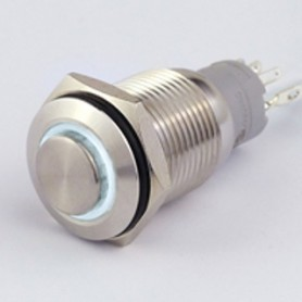 INTERRUTTORE METALLO 12V 16mm LUMINOSO BIANCO IP 67
