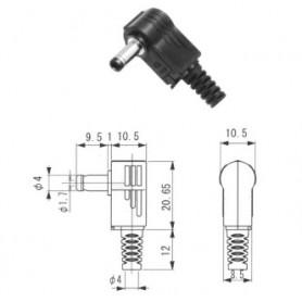 MP-202LN - PRESA ALIMENTAZIONE A 90° DIAM. 4,0 X 1,7 X 9,5 MM