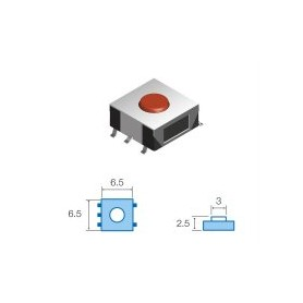 TACT SWITCHS SMD 6.5 x 6.5mm altezza totale 2.5mm